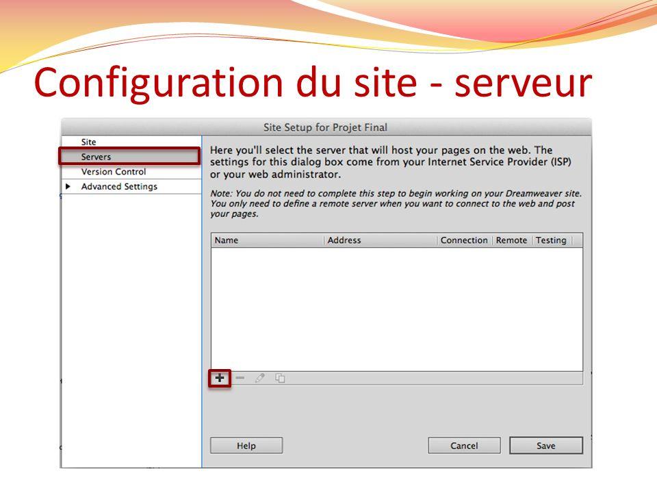 Configuration du site - serveur