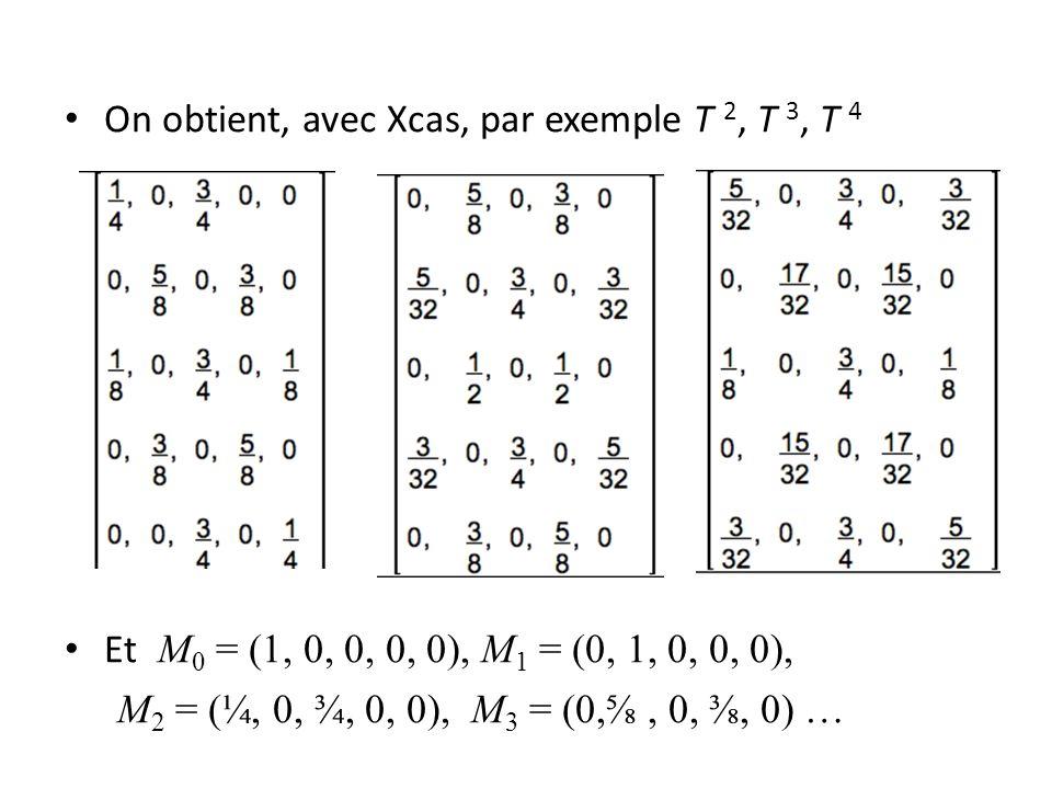 On obtient, avec Xcas, par exemple T 2, T 3, T 4 Et M 0 = (1, 0, 0, 0, 0), M 1 = (0, 1, 0, 0, 0), M 2 = (¼, 0, ¾, 0, 0), M 3 = (0,, 0,, 0) …