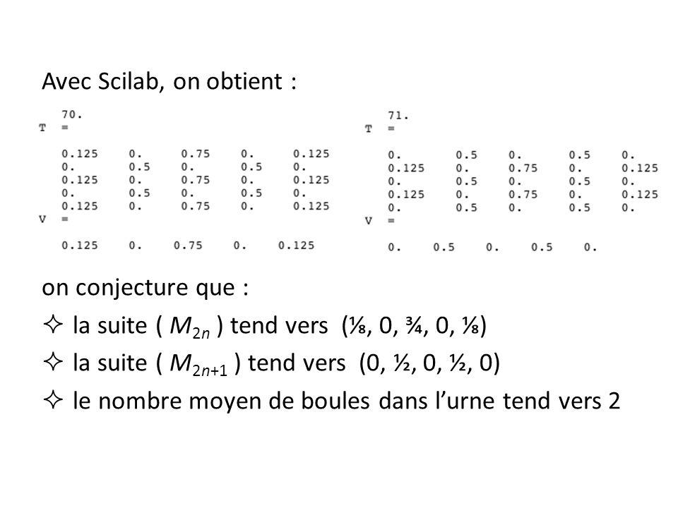 Avec Scilab, on obtient : on conjecture que : la suite ( M 2n ) tend vers (, 0, ¾, 0, ) la suite ( M 2n+1 ) tend vers (0, ½, 0, ½, 0) le nombre moyen