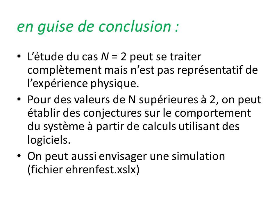 en guise de conclusion : Létude du cas N = 2 peut se traiter complètement mais nest pas représentatif de lexpérience physique. Pour des valeurs de N s