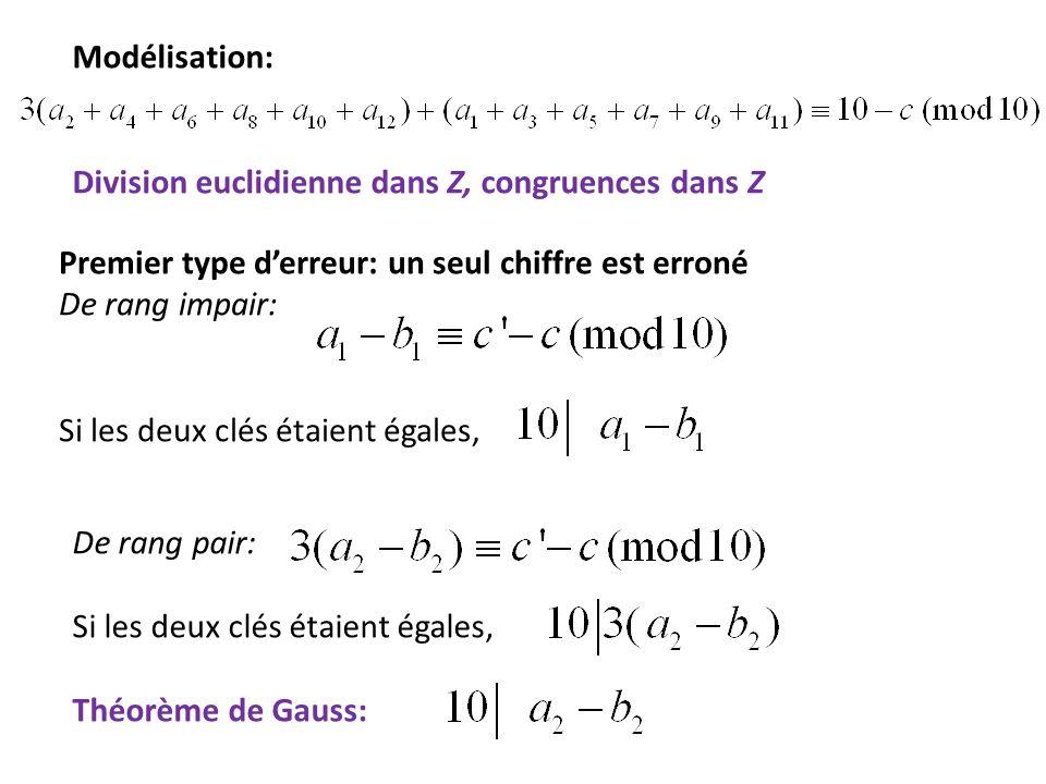 Modélisation: Division euclidienne dans Z, congruences dans Z Premier type derreur: un seul chiffre est erroné De rang impair: Si les deux clés étaien