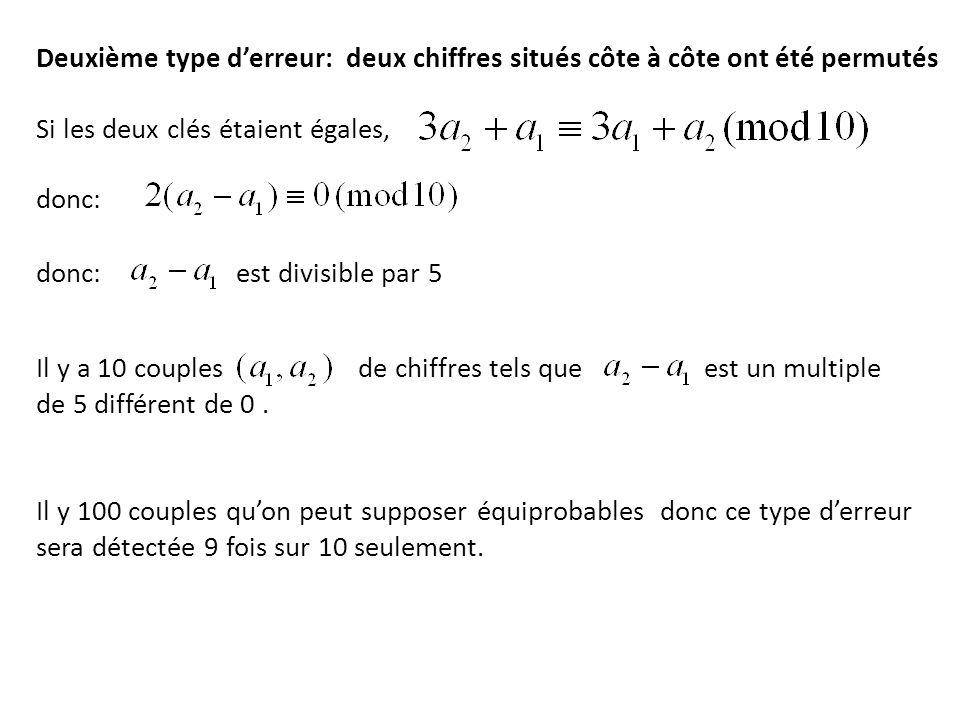 Deuxième type derreur: deux chiffres situés côte à côte ont été permutés Si les deux clés étaient égales, donc: donc: est divisible par 5 Il y a 10 co