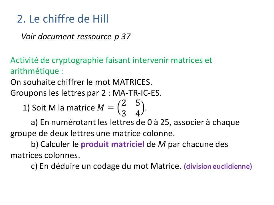 2. Le chiffre de Hill Voir document ressource p 37