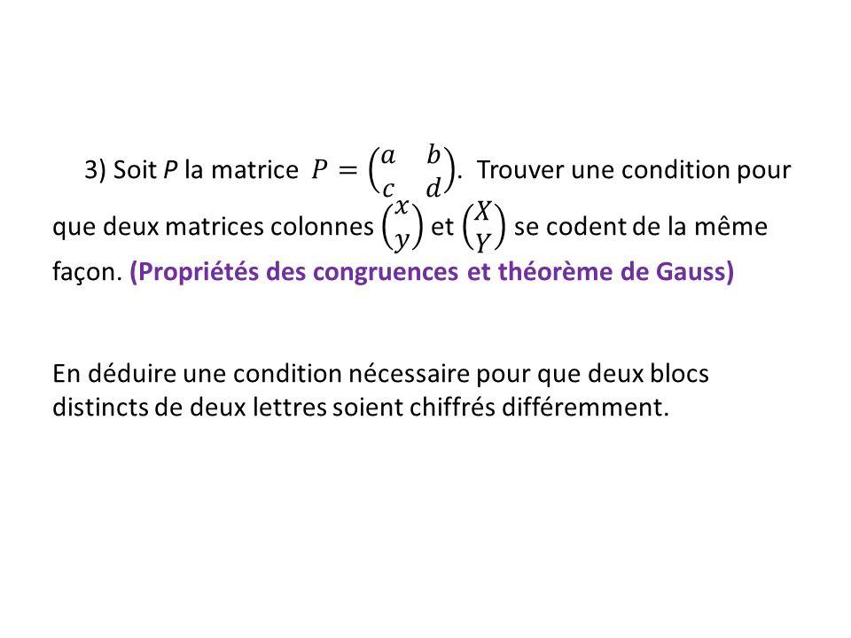 Cas N > 2 Traiter le cas général est assez complexe et amène au calcul de la puissance n dun matrice carré dordre N, dont les coefficients dépendent de N, ce qui ne se fait pas facilement, même avec un logiciel de calcul formel.