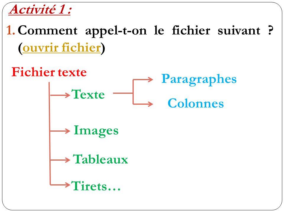 Activité 1 : 1.Comment appel-t-on le fichier suivant ? (ouvrir fichier)ouvrir fichier Fichier texte Texte Images Tableaux Tirets… Paragraphes Colonnes