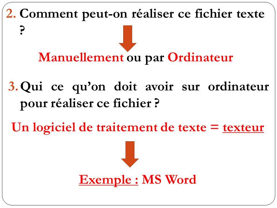 2.Comment peut-on réaliser ce fichier texte ? Manuellement ou par Ordinateur 3.Qui ce quon doit avoir sur ordinateur pour réaliser ce fichier ? Un log