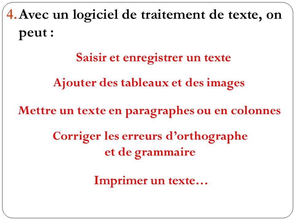 4.Avec un logiciel de traitement de texte, on peut : Saisir et enregistrer un texte Ajouter des tableaux et des images Mettre un texte en paragraphes