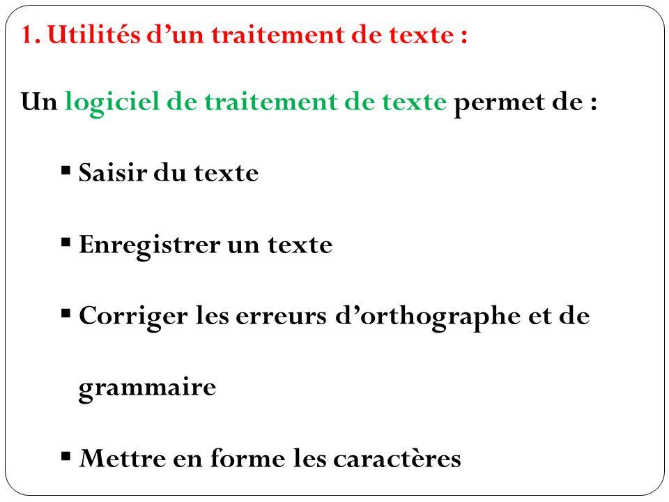 1.Utilités dun traitement de texte : Un logiciel de traitement de texte permet de : Saisir du texte Enregistrer un texte Corriger les erreurs dorthographe et de grammaire Mettre en forme les caractères