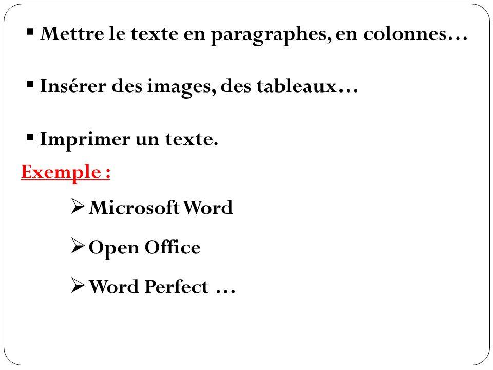Mettre le texte en paragraphes, en colonnes… Insérer des images, des tableaux… Imprimer un texte. Exemple : Microsoft Word Open Office Word Perfect …