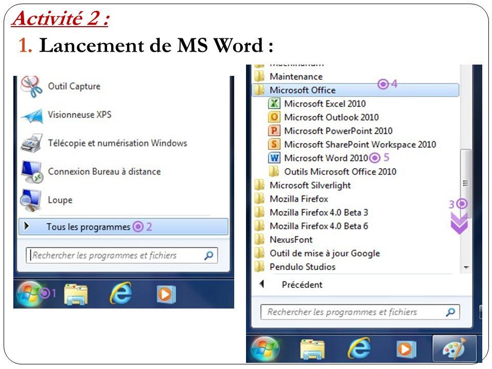 1.Lancement de MS Word : Activité 2 :