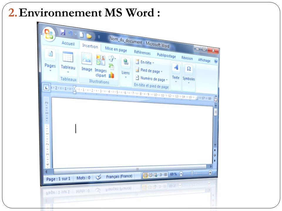 2.Environnement MS Word :