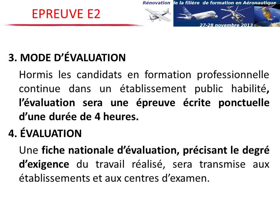 3. MODE DÉVALUATION Hormis les candidats en formation professionnelle continue dans un établissement public habilité, lévaluation sera une épreuve écr
