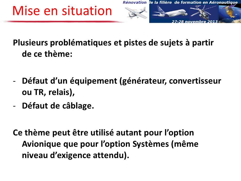 Plusieurs problématiques et pistes de sujets à partir de ce thème: -Défaut dun équipement (générateur, convertisseur ou TR, relais), -Défaut de câblag