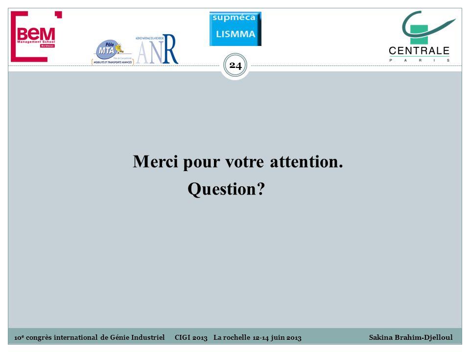 10 e congrès international de Génie Industriel CIGI 2013 La rochelle 12-14 juin 2013 S akina Brahim-Djelloul 24 Merci pour votre attention. Question?