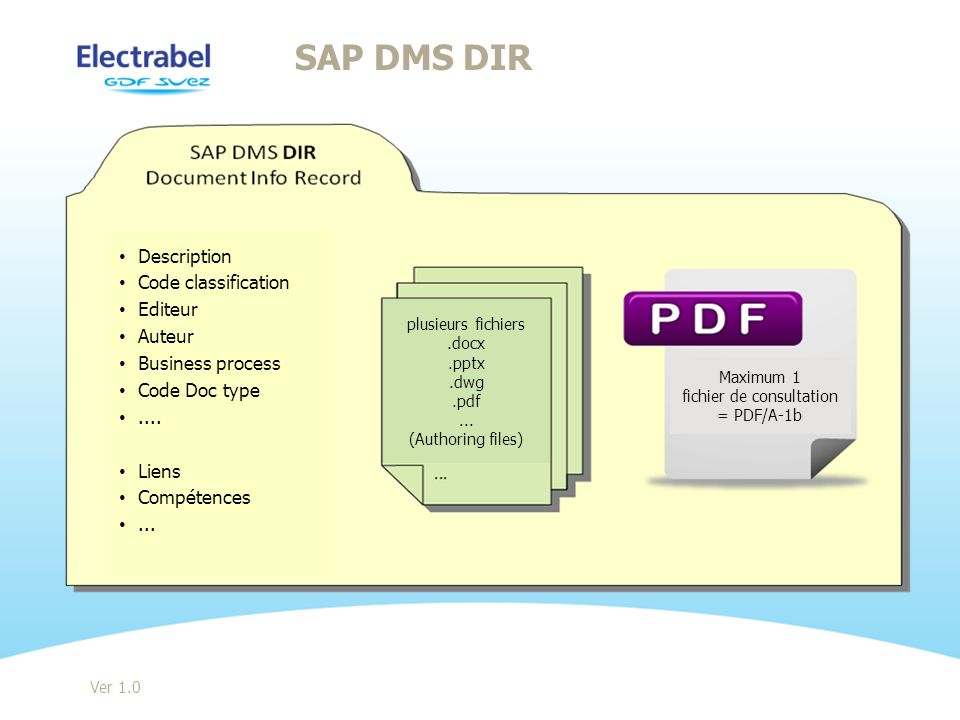 SAP DMS DIR Ver 1.0 Description Code classification Editeur Auteur Business process Code Doc type....