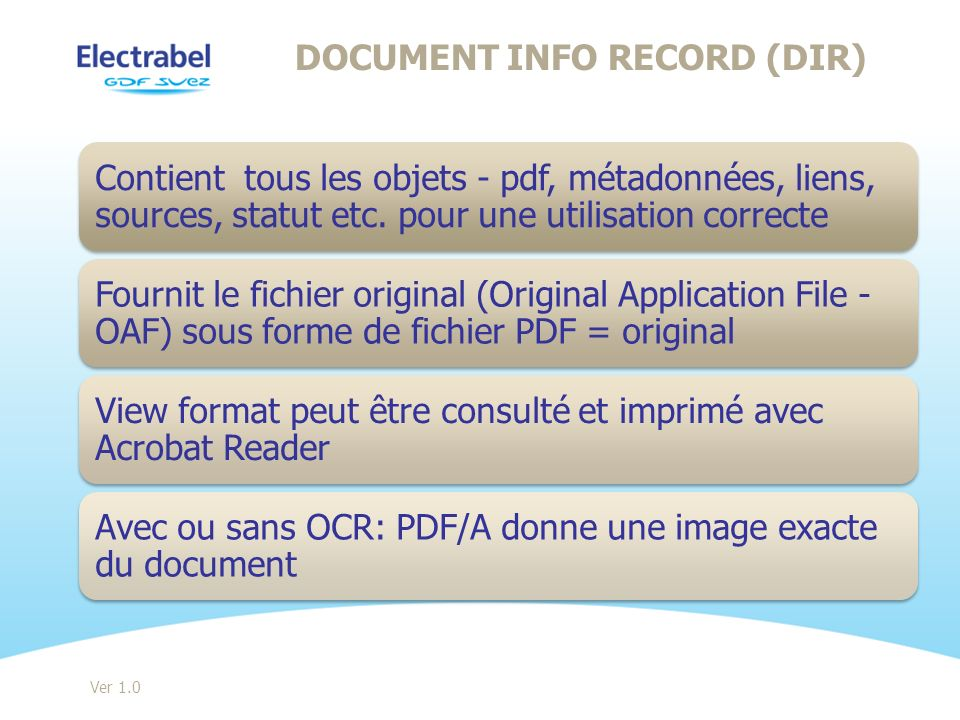 DOCUMENT INFO RECORD (DIR) Ver 1.0
