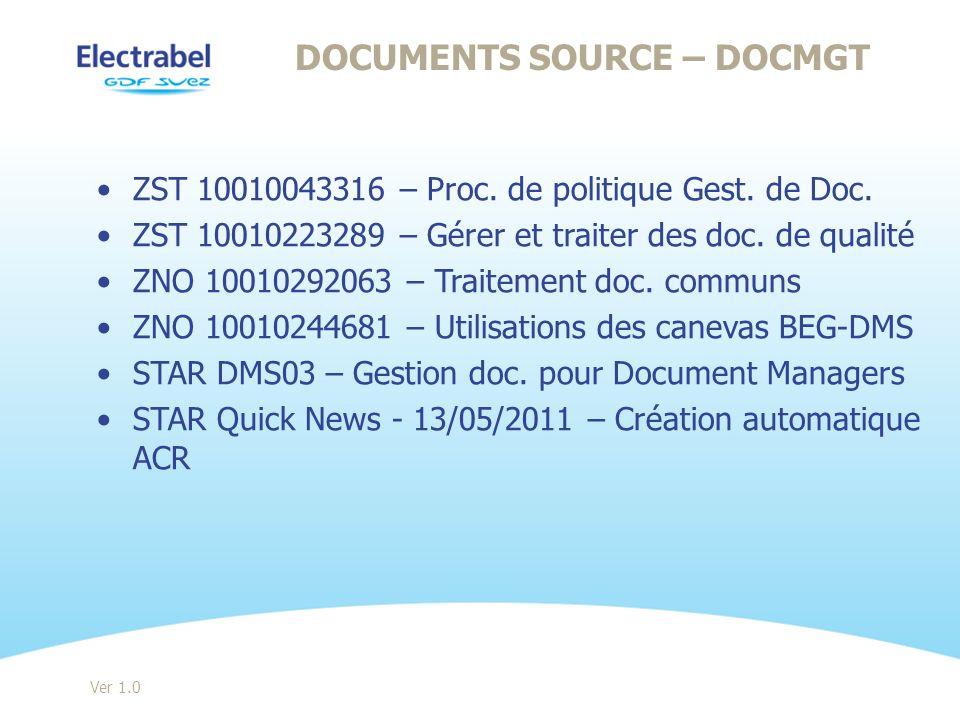 ZST 10010043316 – Proc. de politique Gest. de Doc. ZST 10010223289 – Gérer et traiter des doc. de qualité ZNO 10010292063 – Traitement doc. communs ZN