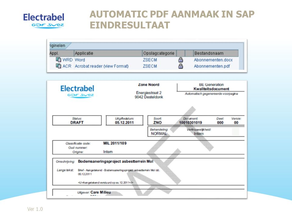 Ver 1.0 AUTOMATIC PDF AANMAAK IN SAP EINDRESULTAAT