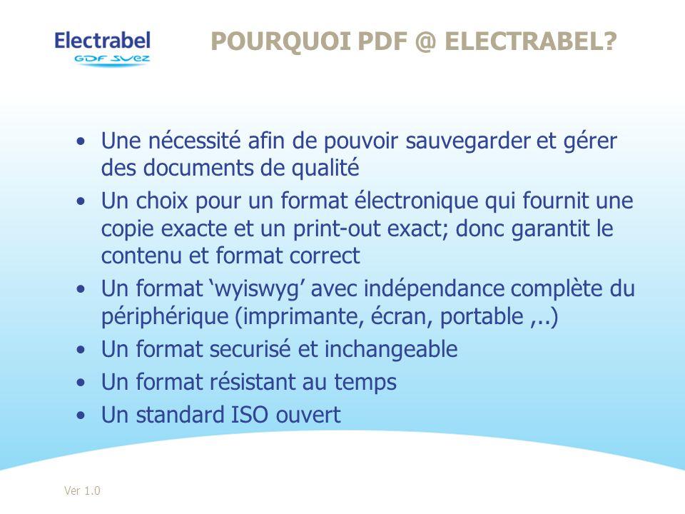 Une nécessité afin de pouvoir sauvegarder et gérer des documents de qualité Un choix pour un format électronique qui fournit une copie exacte et un pr