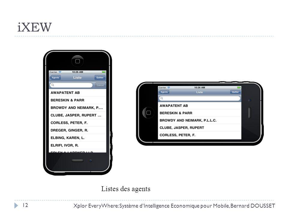 iXEW Xplor EveryWhere: Système d'Intelligence Economique pour Mobile, Bernard DOUSSET Listes des agents 12