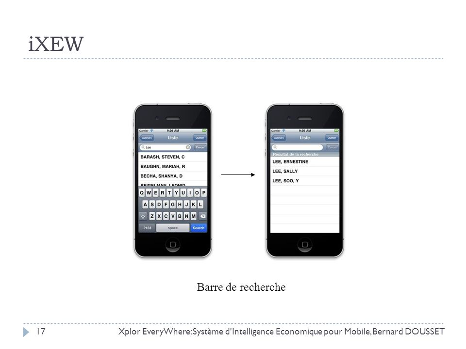 Xplor EveryWhere: Système d'Intelligence Economique pour Mobile, Bernard DOUSSET17 iXEW Barre de recherche