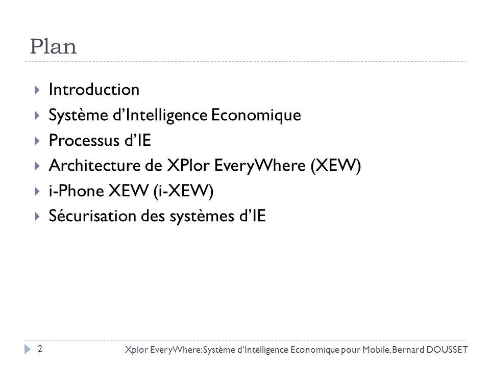 Plan Introduction Système dIntelligence Economique Processus dIE Architecture de XPlor EveryWhere (XEW) i-Phone XEW (i-XEW) Sécurisation des systèmes
