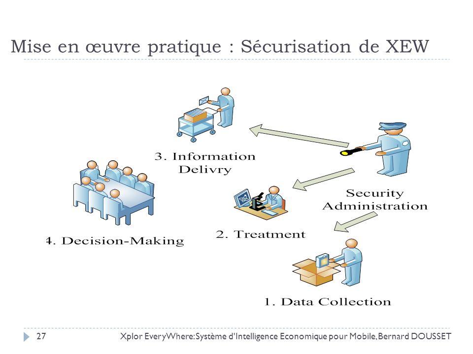 Mise en œuvre pratique : Sécurisation de XEW Xplor EveryWhere: Système d'Intelligence Economique pour Mobile, Bernard DOUSSET27
