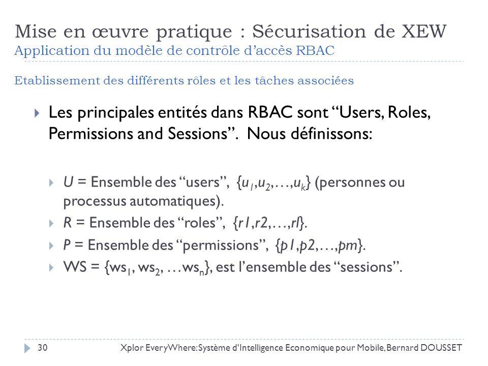 Mise en œuvre pratique : Sécurisation de XEW Application du modèle de contrôle daccès RBAC Etablissement des différents rôles et les tâches associées