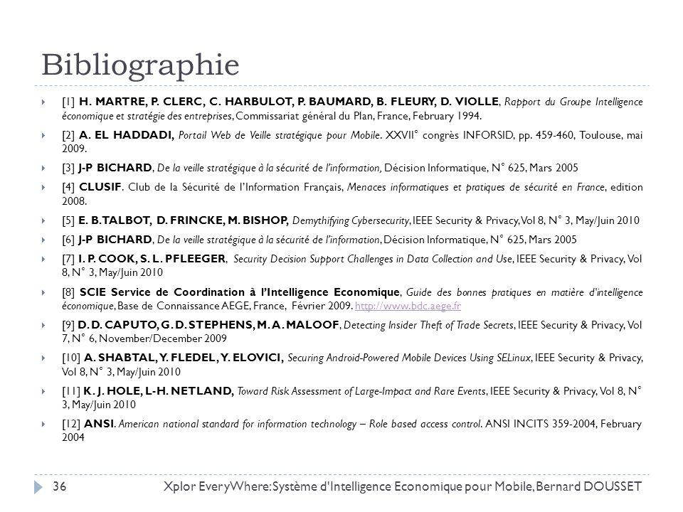 Bibliographie [1] H. MARTRE, P. CLERC, C. HARBULOT, P. BAUMARD, B. FLEURY, D. VIOLLE, Rapport du Groupe Intelligence économique et stratégie des entre