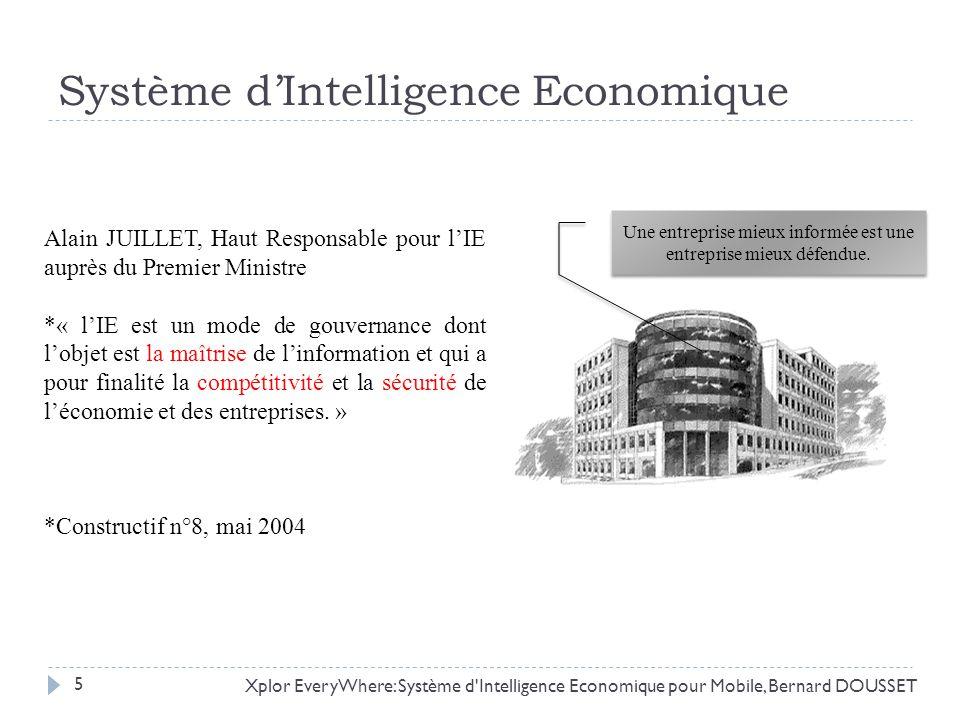 Système dIntelligence Economique Xplor EveryWhere: Système d'Intelligence Economique pour Mobile, Bernard DOUSSET Alain JUILLET, Haut Responsable pour