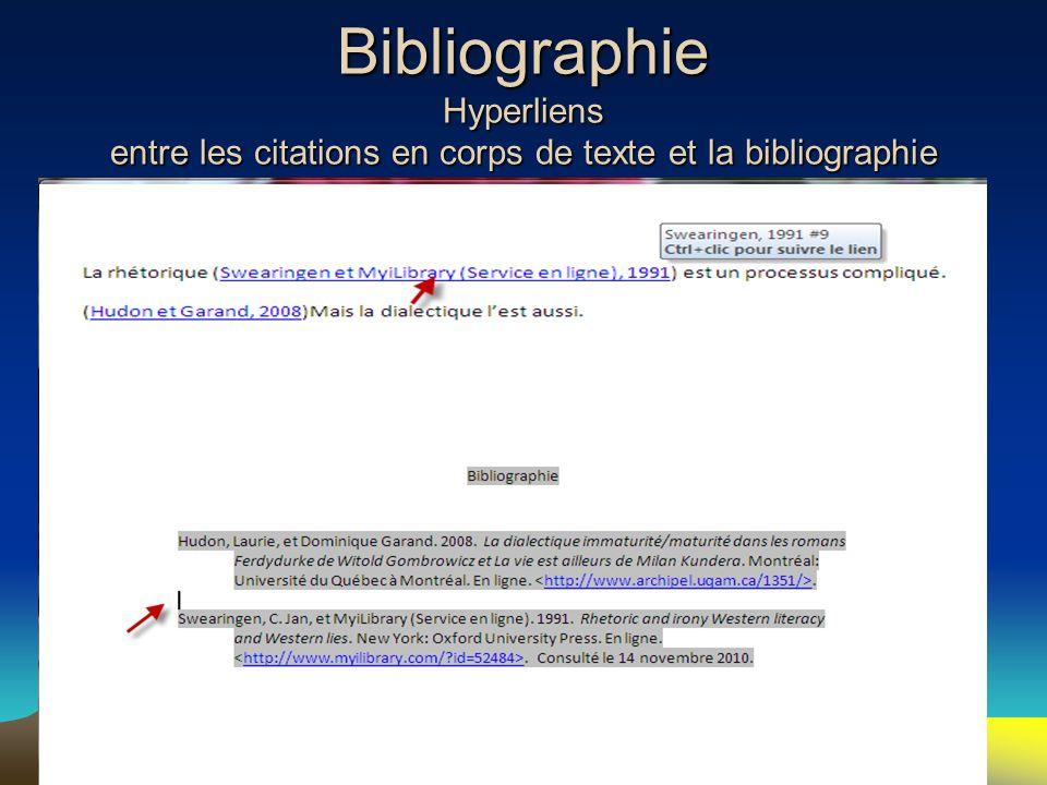 Bibliographie Hyperliens entre les citations en corps de texte et la bibliographie 105