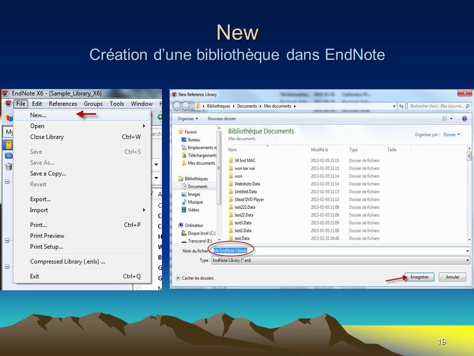 19 New Création dune bibliothèque dans EndNote