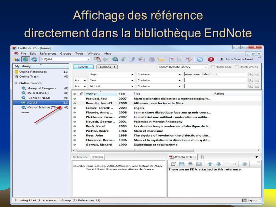 28 Affichage des référence directement dans la bibliothèque EndNote