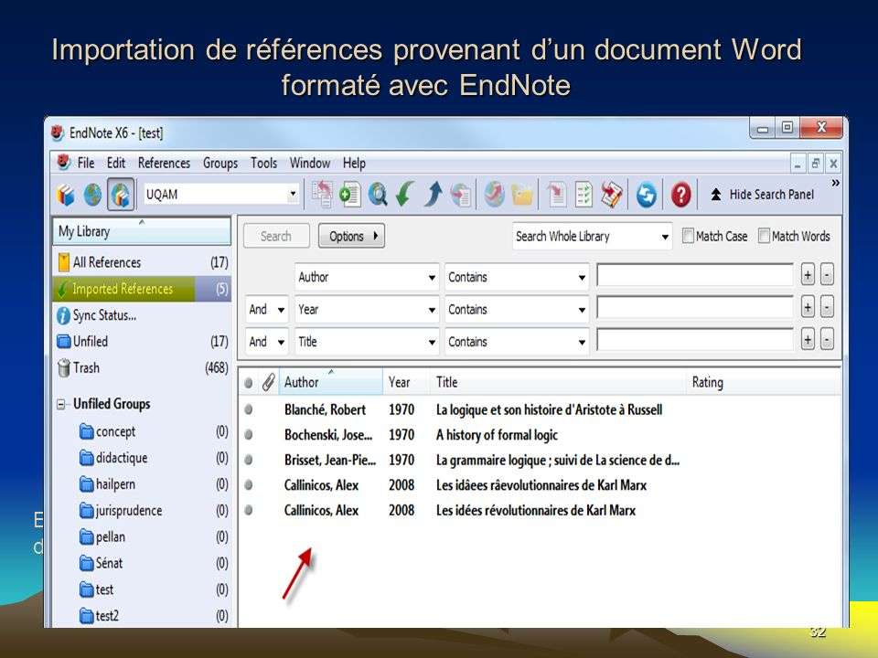 Importation de références provenant dun document Word formaté avec EndNote 32 En partant dEndNote En partant de WORD