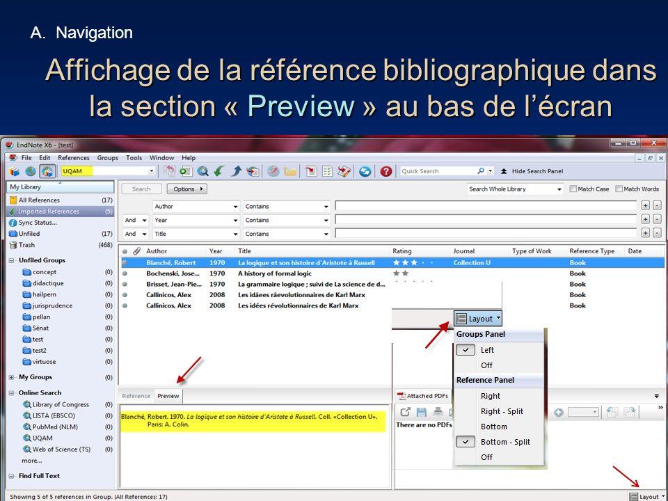 36 Affichage de la référence bibliographique dans la section « Preview » au bas de lécran A.Navigation