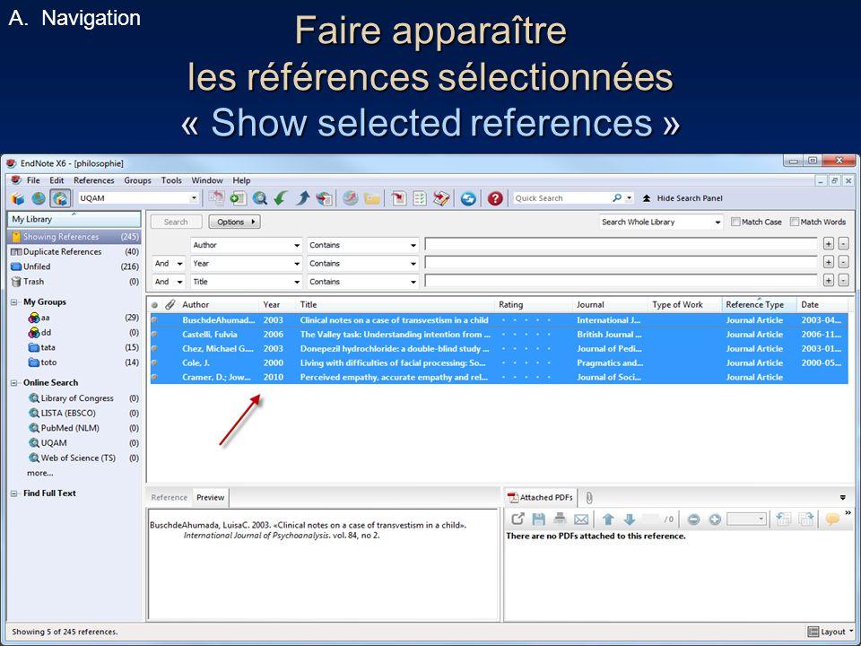 39 Faire apparaître les références sélectionnées « Show selected references » A.Navigation