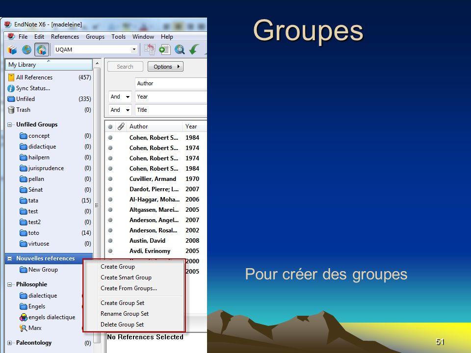 Les Groupes 51 Pour créer des groupes
