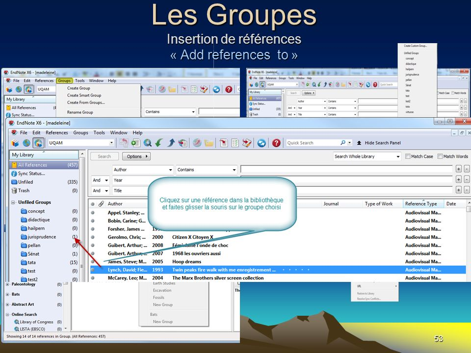 Les Groupes Insertion de références « Add references to » 53