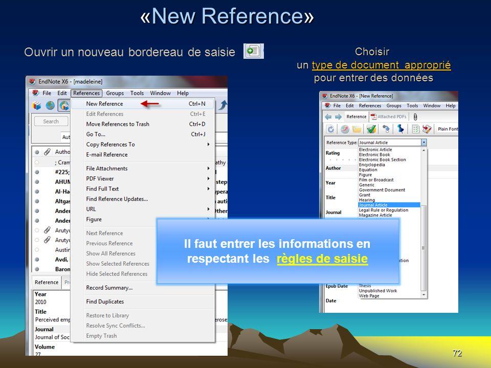 72 Choisir un type de document approprié pour entrer des données «New Reference» Ouvrir un nouveau bordereau de saisie Il faut entrer les informations