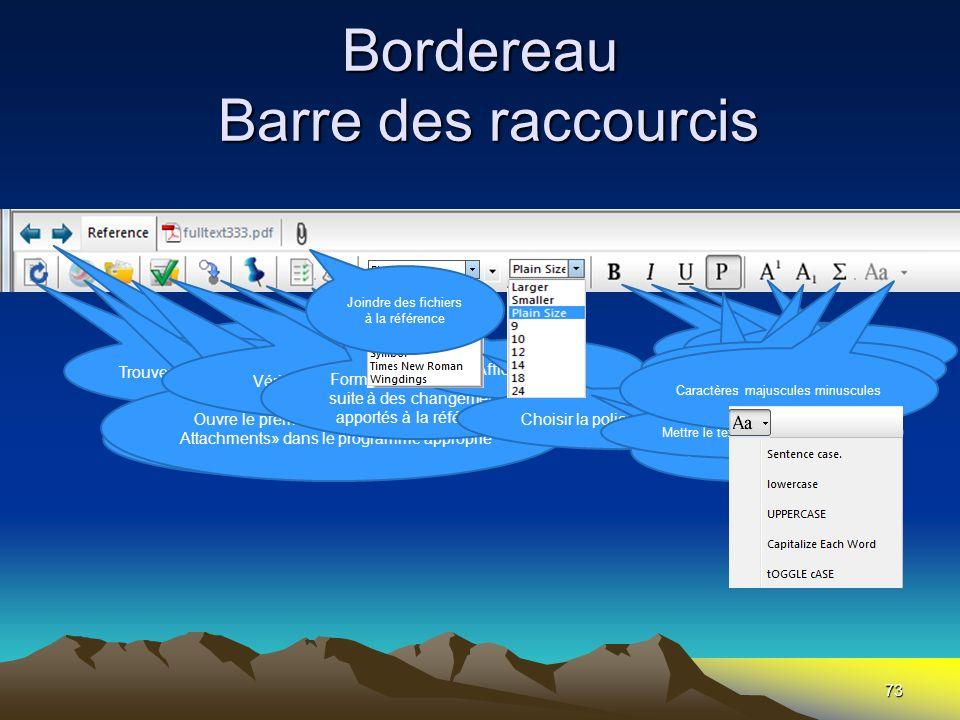 Bordereau Barre des raccourcis 73 Passer dune référence à lautre Trouver les mises à jour Ouvrir la première adresse URL inscrite dans la zone « URL »