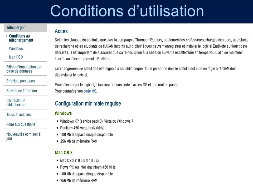 8 Conditions dutilisation