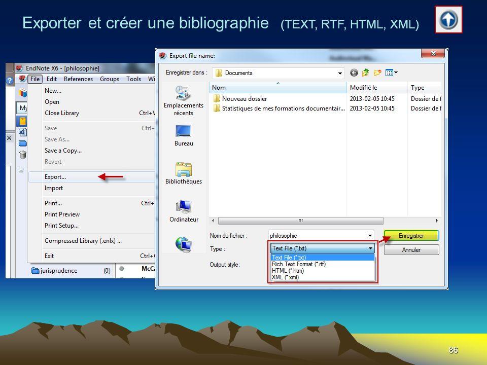 86 Exporter et créer une bibliographie (TEXT, RTF, HTML, XML)