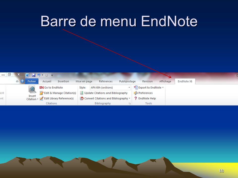 Barre de menu EndNote 88