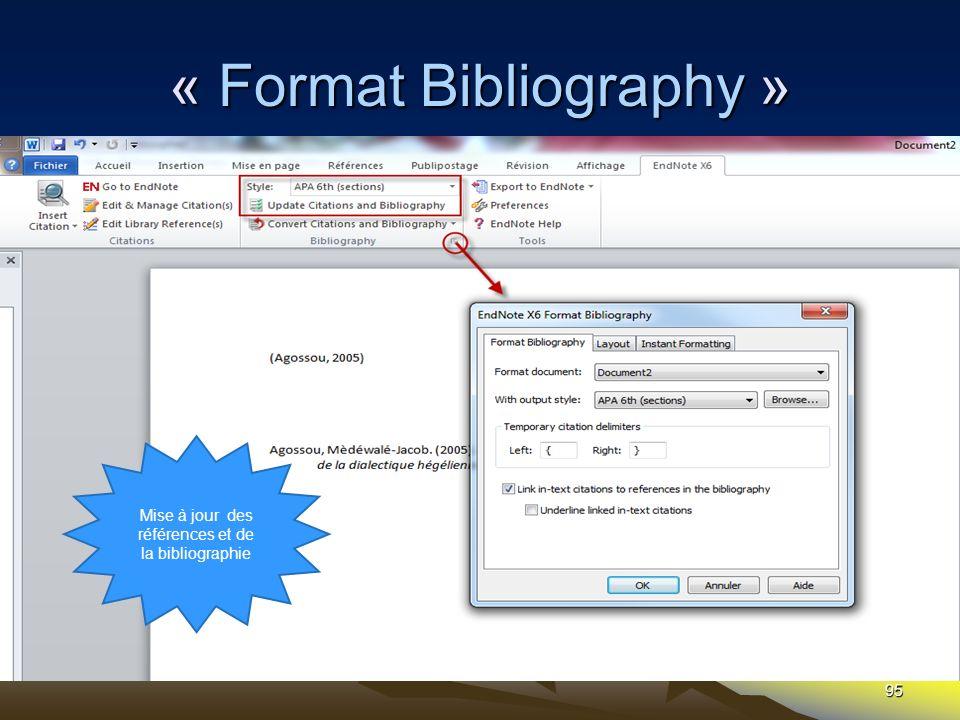 95 « Format Bibliography » Mise à jour des références et de la bibliographie