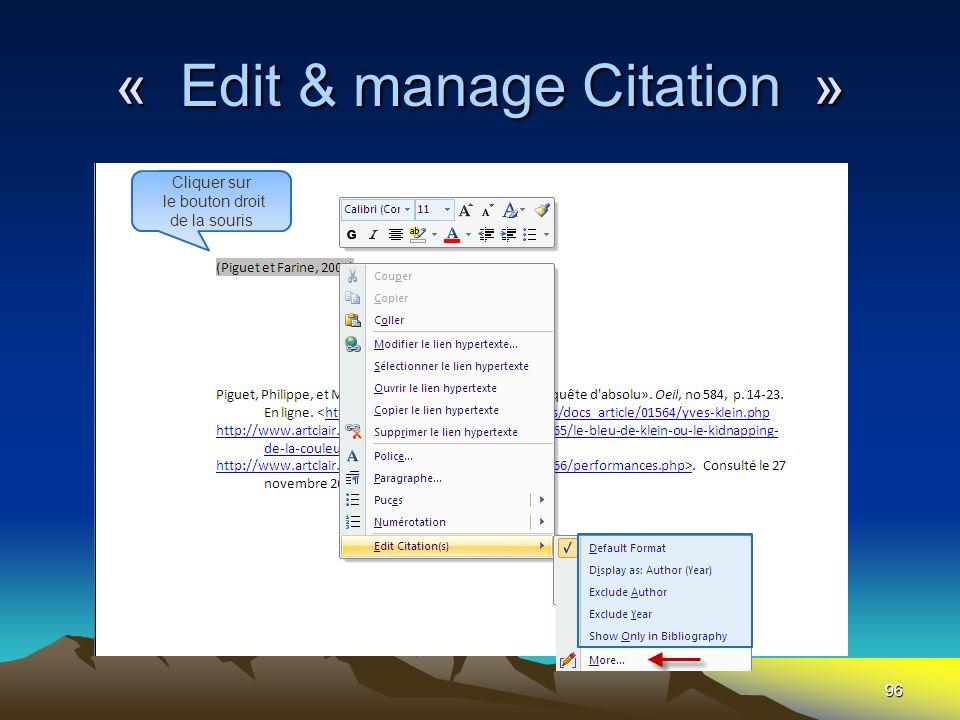 96 « Edit & manage Citation » Cliquer sur le bouton droit de la souris