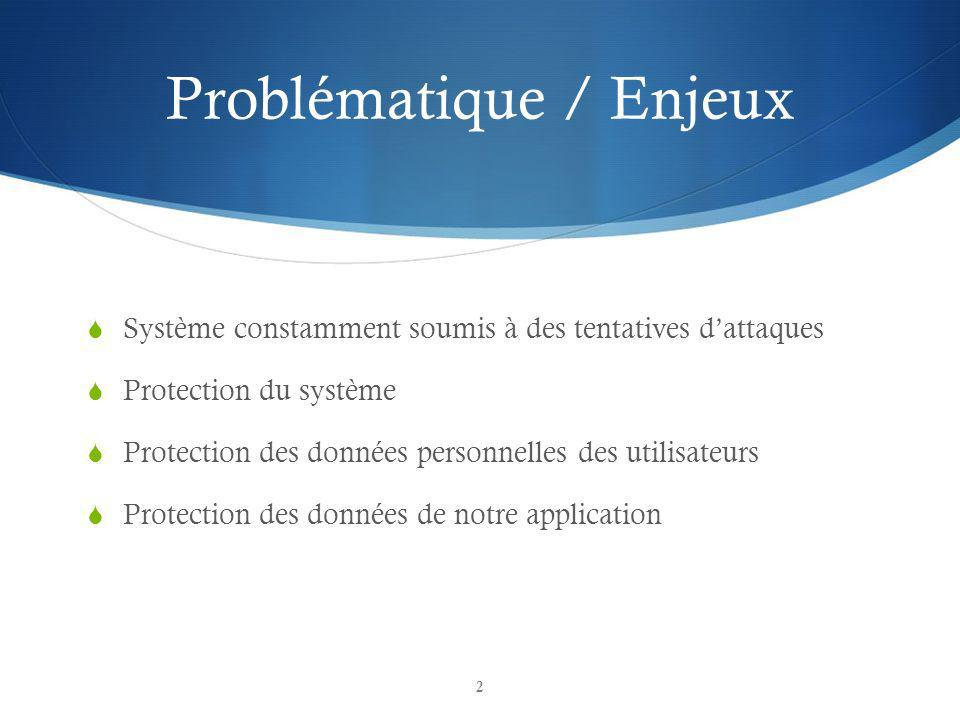 Problématique / Enjeux Système constamment soumis à des tentatives dattaques Protection du système Protection des données personnelles des utilisateurs Protection des données de notre application 2