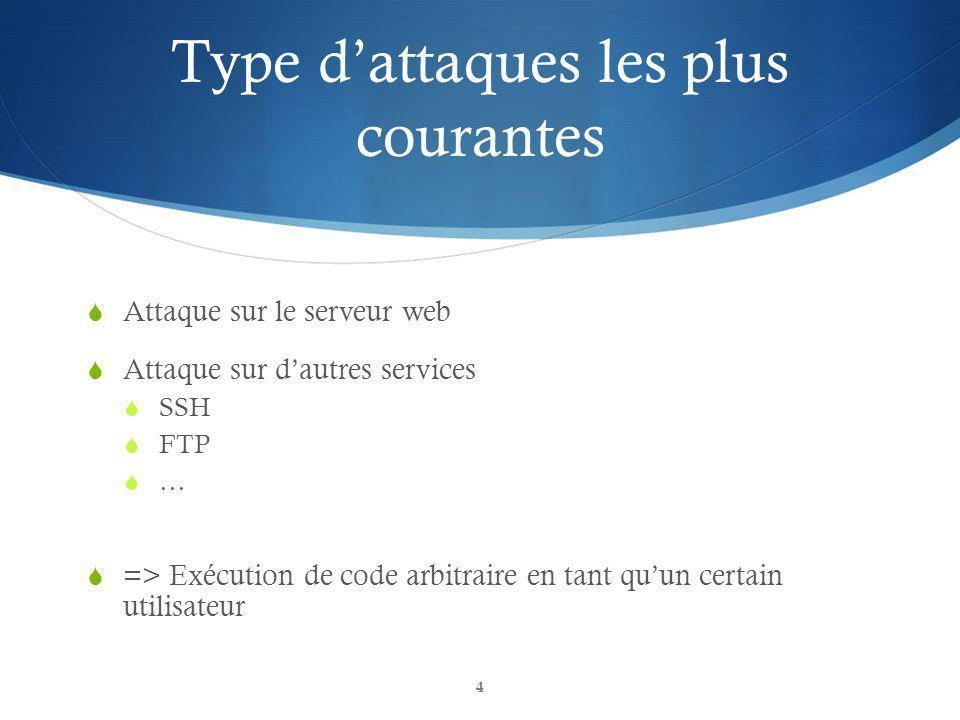 Type dattaques les plus courantes Attaque sur le serveur web Attaque sur dautres services SSH FTP … => Exécution de code arbitraire en tant quun certain utilisateur 4