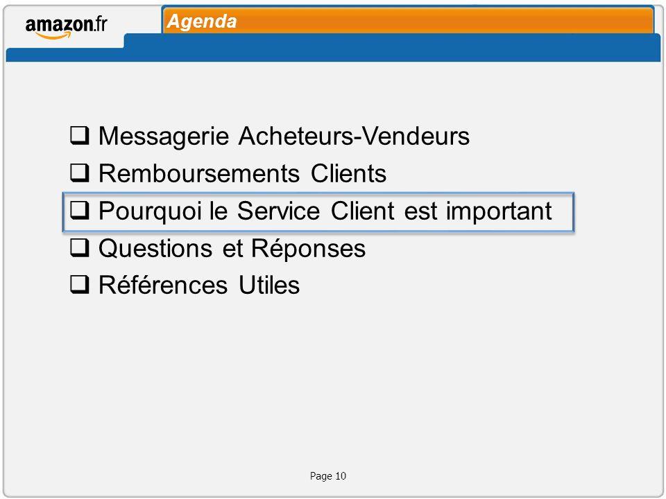 Agenda Messagerie Acheteurs-Vendeurs Remboursements Clients Pourquoi le Service Client est important Questions et Réponses Références Utiles Page 10