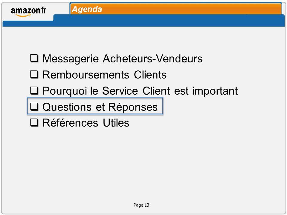 Agenda Messagerie Acheteurs-Vendeurs Remboursements Clients Pourquoi le Service Client est important Questions et Réponses Références Utiles Page 13