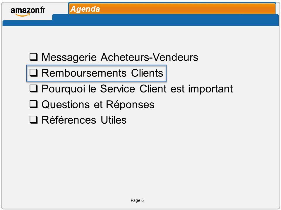 Agenda Messagerie Acheteurs-Vendeurs Remboursements Clients Pourquoi le Service Client est important Questions et Réponses Références Utiles Page 6